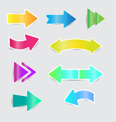 color bright arrow stickers with shadow vector image