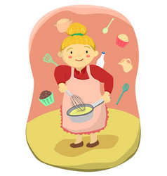 Cute mother cooking cupcakes vector