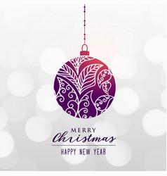 decorative christmas ball on bokeh background vector image