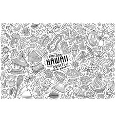 Doodle cartoon set hawaii objects and vector
