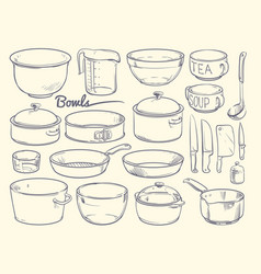 Doodle cooking equipment and kitchen utensils vector