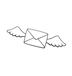 doodle flying closed envelope with wings vector image