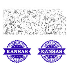 Dotted map of kansas state and textured stamp vector