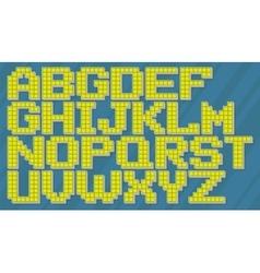 English yellow and blue pixel alphabet set vector image