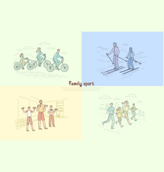 Family exercising together parents with children vector