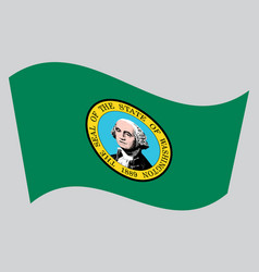 Flag of washington state waving on gray background vector