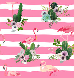 Flamingo bird and tropical cactus seamless pattern vector