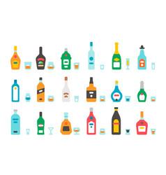 Flat design liquor bottles and glasses vector