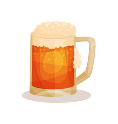 flat icon of draft beer with foam vector image