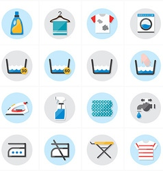 Flat Icons For Laundry and Washing Icons vector image