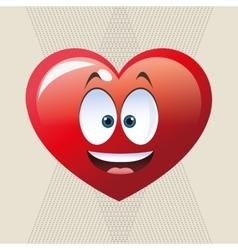 Flat of cartoon face design heart vector image vector image