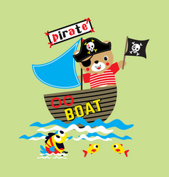 funny bear pirate cartoon on the boat vector image