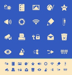 General computer screen color icons on blue vector