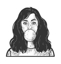 girl blows bubble gum sketch vector image
