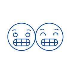 grimacing emoji line icon concept grimacing emoji vector image