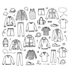 hand drawn mens clothing vector image