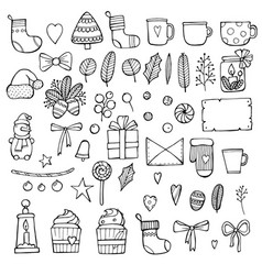 Hand drawn merry christmas doodle set with tree vector