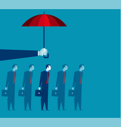 hand holding umbrella above businessman vector image