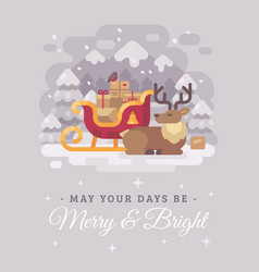 happy santa claus reindeer lying down near a vector image