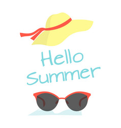 hello summer card with hat and sunglasses vector image