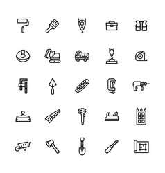 icon set constructionrepair in line style vector image
