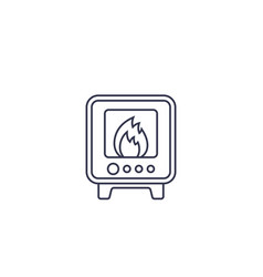 Industrial oven icon line vector