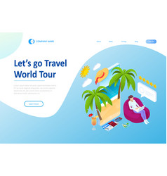 isometric tourism and booking app concept travel vector image