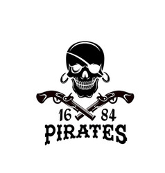 jolly roger pirate skull piracy flag icon vector image