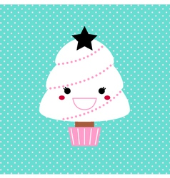 Kawaii Xmas Tree isolated on dotted background vector image