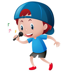 Little boy singing on microphone vector