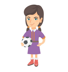 little caucasian girl holding a football ball vector image