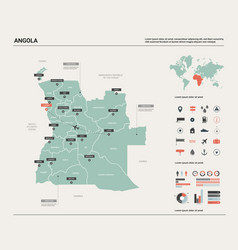 Map angola high detailed country vector