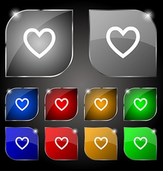 Medical heart love icon sign set of ten colorful vector
