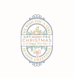 Merry christmas greeting card or label decorative vector