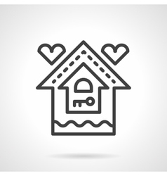 Mortgage for young family black line icon vector