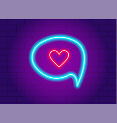 neon glowing heart in a speech bubble vector image