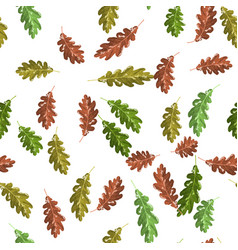 oak green and brown leaf seamless pattern autumn vector image