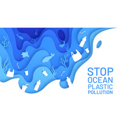 ocean pollution paper art poster with plastic vector image