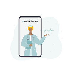online virtual doctor consulting from smartphone vector image
