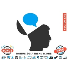 Open Mind Opinion Flat Icon With 2017 Bonus Trend vector