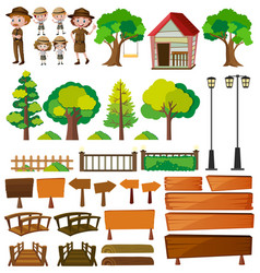 Park rangers and tree products vector