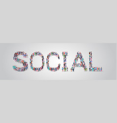 People crowd gathering in shape social word vector