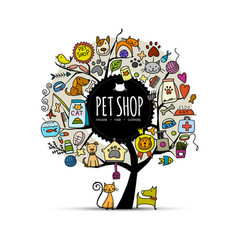 Pet shop art tree design with place for your text vector