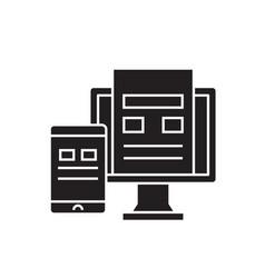 phone synchronization black concept icon vector image