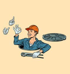 Plumber in the manhole set of gestures okay vector