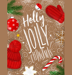 poster holly jolly christmas craft vector image