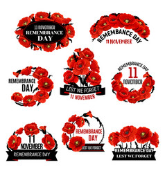 Remembrance day red poppy flower wreath icon vector