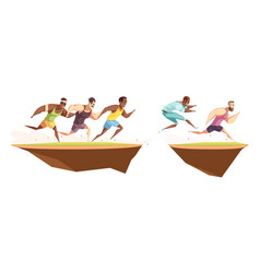 Runners jump a ditch composition vector