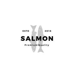 salmon fish logo seafood label badge sticker vector image