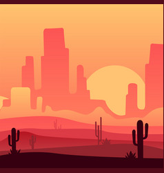 Sandy desert with rocky mountains and cactus vector